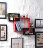Black & Red MDF Intersecting Storage Wall Shelf by DriftingWood