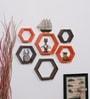 Orange & Brown MDF Hexagon Shape Wall Shelf - Set of 6 by DriftingWood