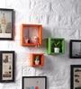 Driftingwood Orange & Green MDF Nesting Square Shape Wall Shelves - Set of 3