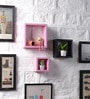 Pink & Black MDF Nesting Square Shape Wall Shelves - Set of 3 by DriftingWood