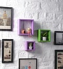 Driftingwood Purple & Green MDF Nesting Square Shape Wall Shelves - Set of 3