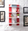Driftingwood Red & White MDF Ladder Shape Wall Shelf