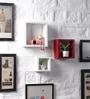 Red & White MDF Nesting Square Shape Wall Shelves - Set of 3 by DriftingWood