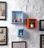 Sky Blue & Orange MDF Nesting Square Shape Wall Shelves - Set of 3 by DriftingWood