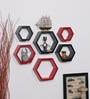 Driftingwood Red & Black MDF Hexagon Shape Wall Shelf - Set of 6