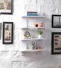 White MDF Ladder Shape Wall Shelf by DriftingWood