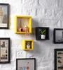 Yellow & Black MDF Nesting Square Shape Wall Shelves - Set of 3 by DriftingWood