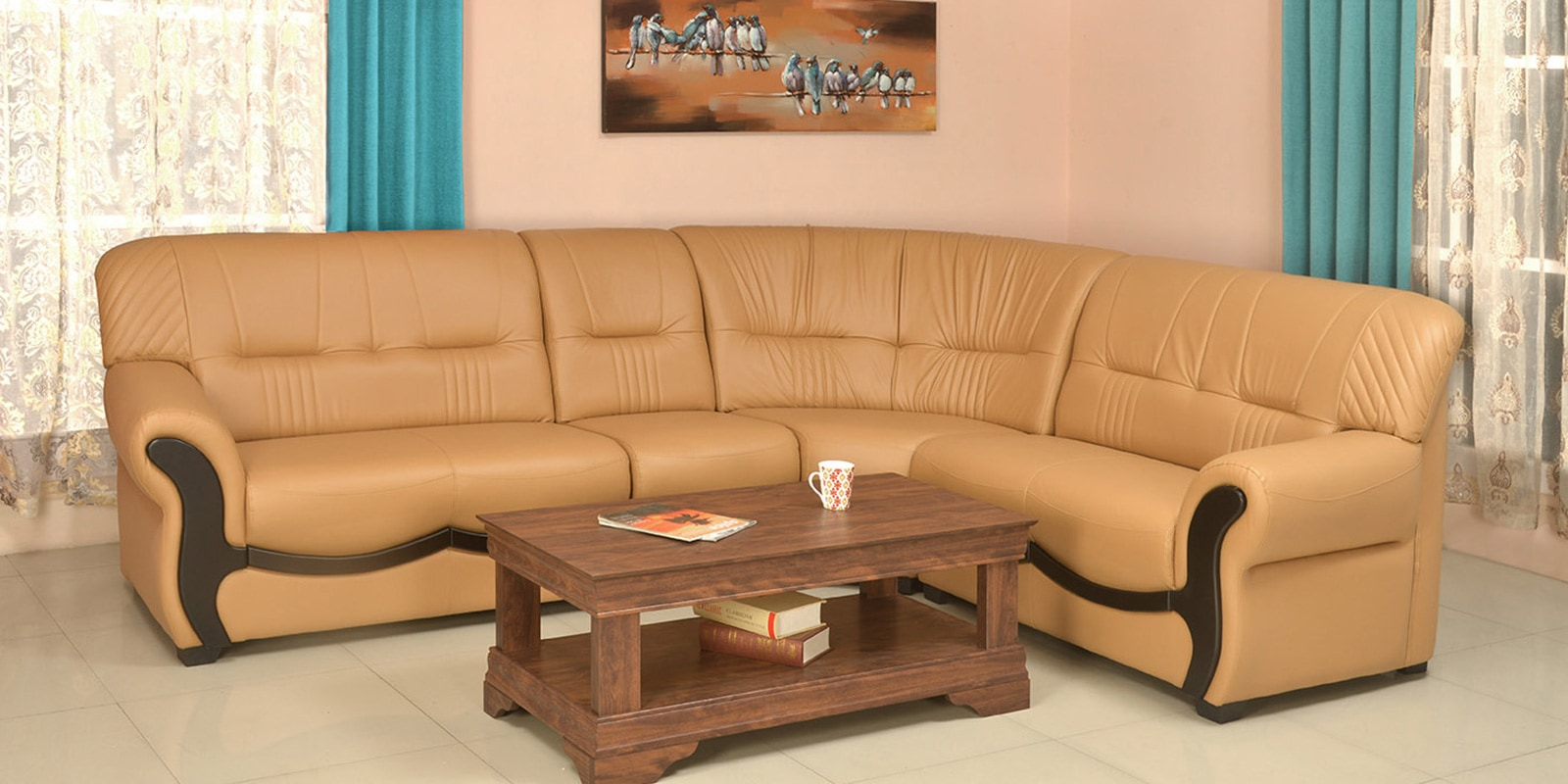 Picture of: Buy Dublin Corner Sofa In Light Brown Color By Nilkamal Online Lhs Sectional Sofas Sectional Sofas Furniture Pepperfry Product