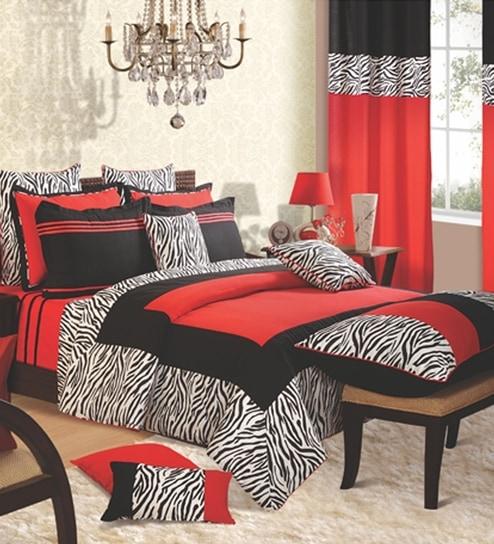 Swayam Red N Black Zebra Printed Bedding Set By Swayam Online Bedding Sets Furnishings