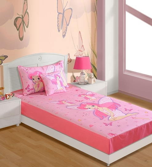 Good Pink Cotton Fairy Single Bedsheet By Swayam