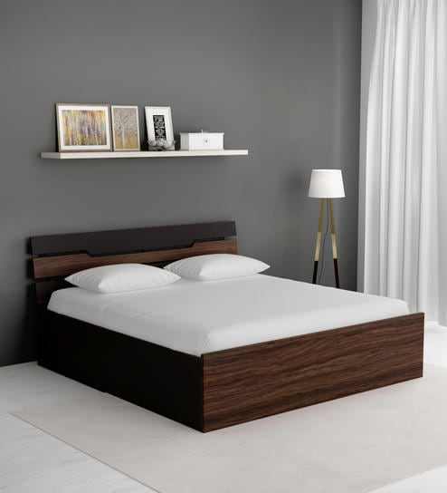 King Size Bed.Duke King Size Bed With Hydraulic Storage In Wenge Finish By Crystal Furnitech