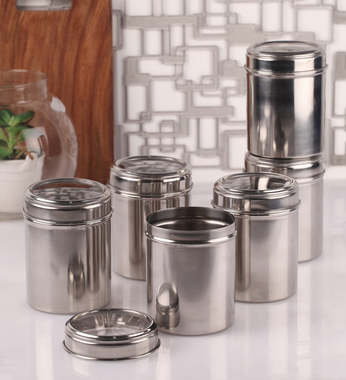 buy 750ml stainless steel round storage canister - set of