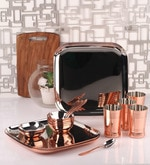 Silver Stainless Steel 24-Piece Copper-Bottom Dinner Set