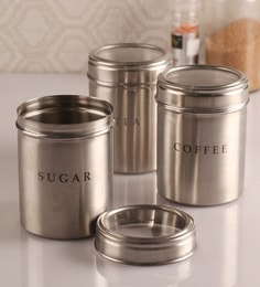 Dynore Silver 1000 Ml Canister Set Of 3