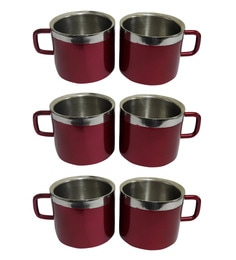 Dynore Stainless Steel Double Wall Maroon Cups - Set Of 6