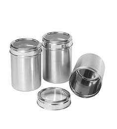 Dynore Stainless Steel Round 1500 Ml Canisters - Set Of 3