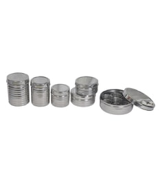 Dynore Stainless Steel Round Spice Storage - Set Of 6
