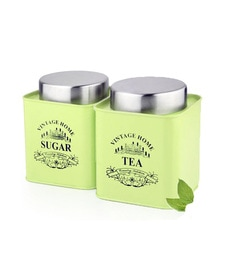 Dynore Stainless Steel Square 650 Ml Canisters - Set Of 2