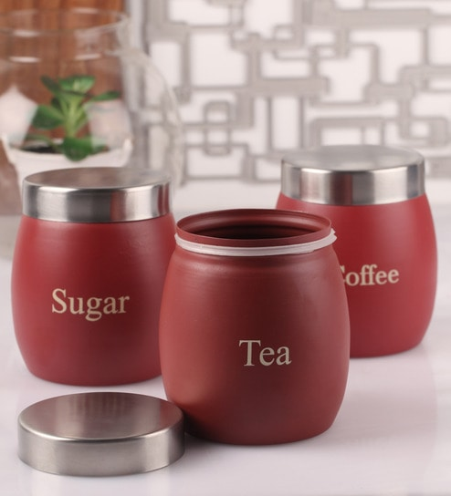 Dynore Barrel Maroon Round 1 L Tea, Coffee and Sugar Canister - Set of 3
