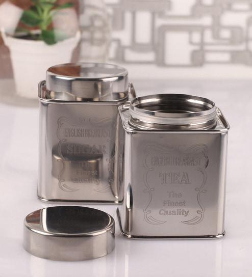 Dynore Chrome Steel Square 950 ML Tea and Sugar Canister Set