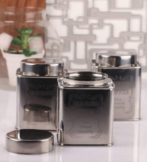 Dynore Chrome Steel Square 950 Ml Tea Coffee And Sugar Canister Set Of 3