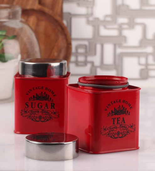 Dynore Half Deck Red Round 950 ML Tea and Sugar Canister - Set of 2
