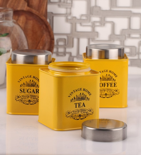 Dynore Half Deck Yellow Round 950 Ml Tea Coffee And Sugar Canister Set Of
