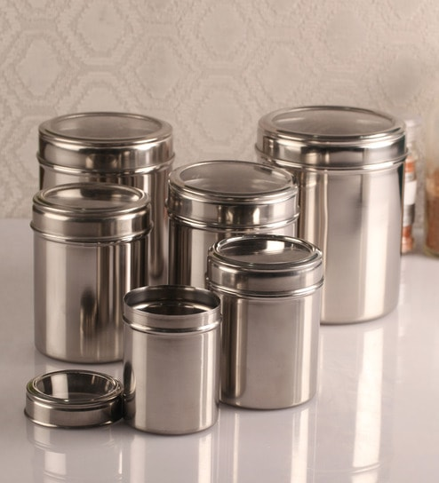 buy dynore see through silver canister set of 6 online