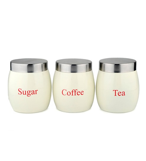 Dynore Barrel Cream Round 1 L Tea, Coffee and Sugar Canister Set