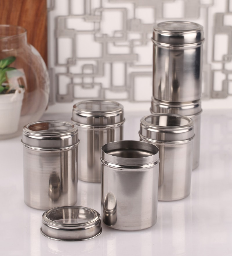 Dynore See Through Steel Round 500 ML Storage Canister - Set of 6