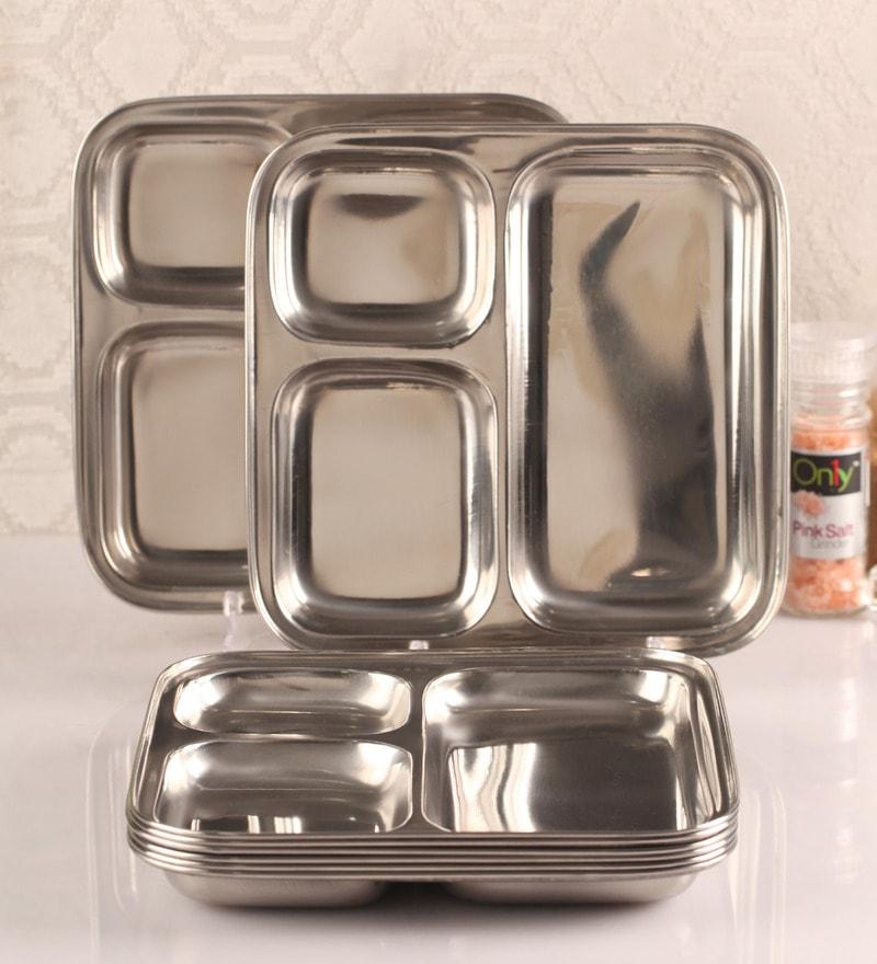 Dynore Set of 8 Stainless Steel Pav Bhaji Snacks Plate