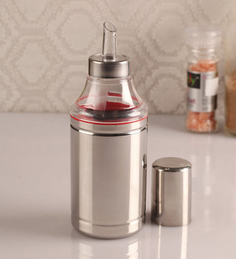 Dynore Silver Stainless Steel 1000ML Oil Dropper - Set of 2