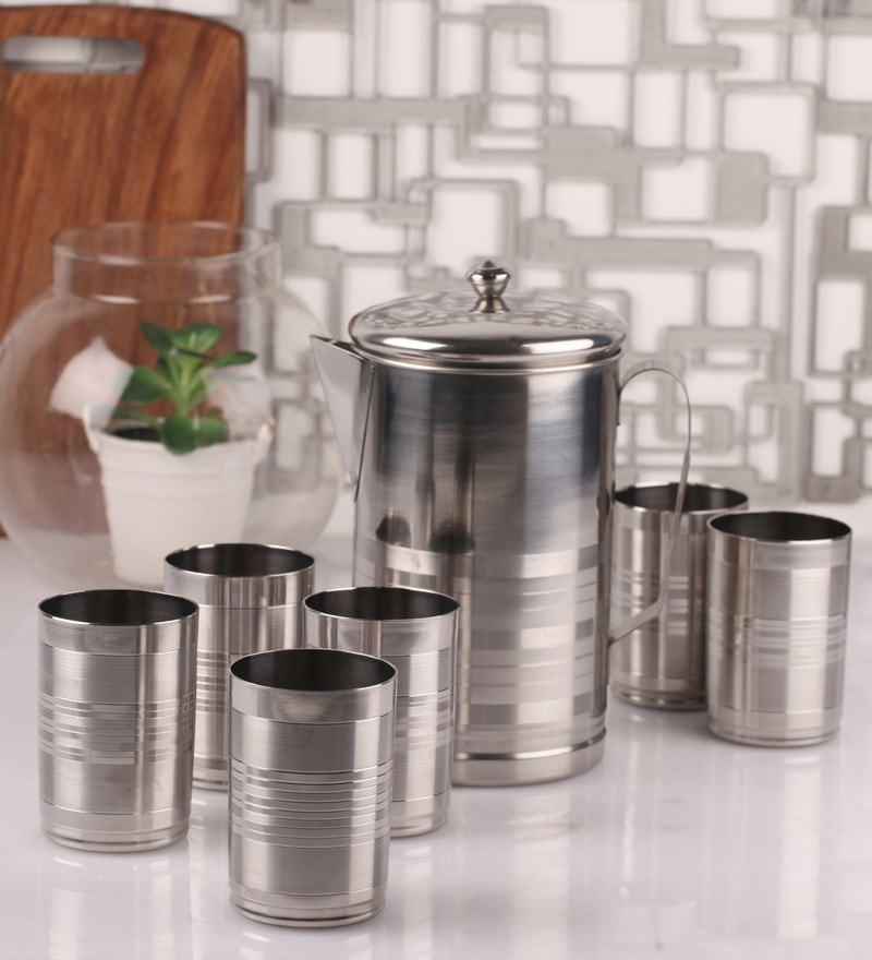 Dynore Silver Steel 7-piece Jug and Glass Set