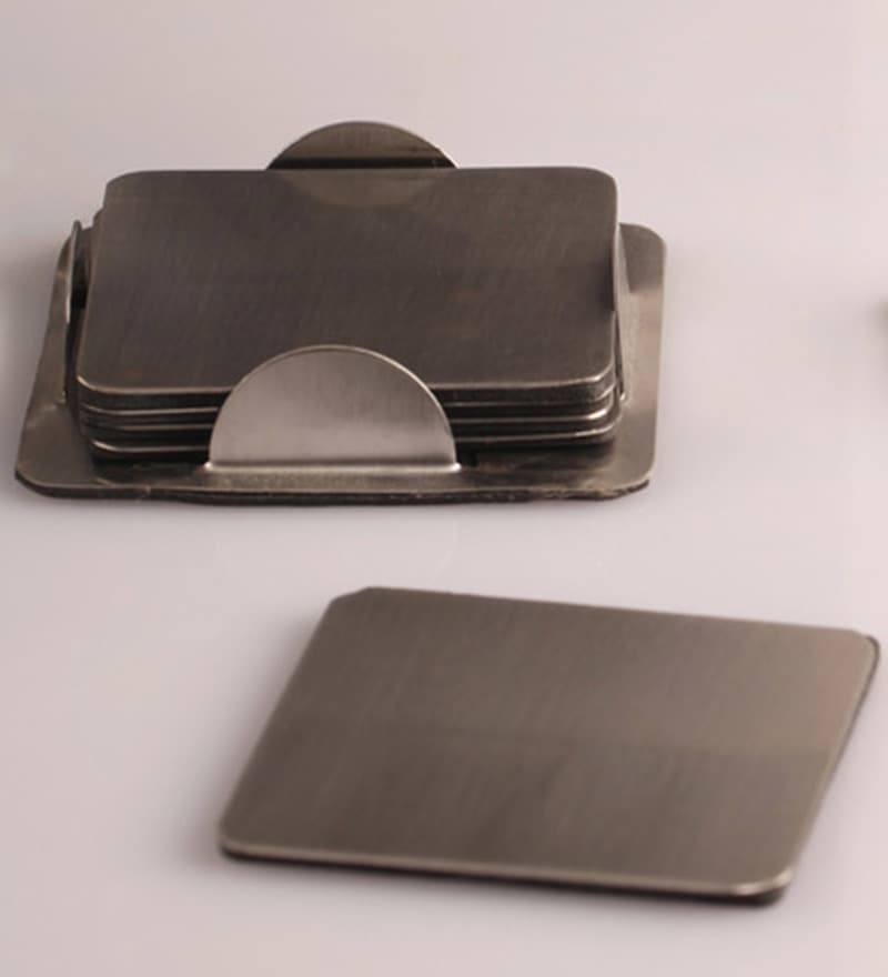 Dynore Stainless Steel Coaster - Set of 6
