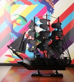 Black Metal Impressive Pearl Ship Showpiece
