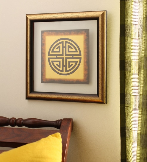 Buy Gold Foiling 9.5 x 9.5 Inch Zen Blessings Symbol Wooden Frame by ...