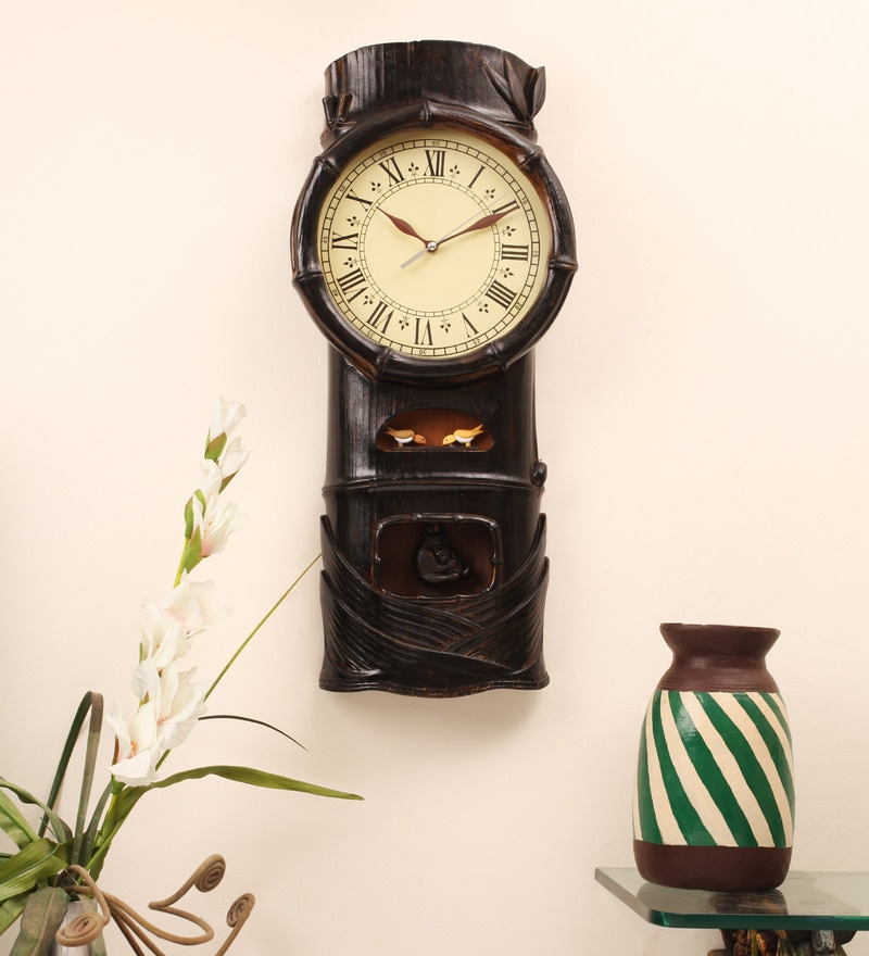 Brown Teak Wood 12 x 18. 5 Inch Cuckoo Clocks by E-Studio