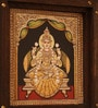 Multicolor goddess lakshmi  on canvas and wooden frame and brass dcor  11.5 inch by 11.25 inch   wooden Frame Wall Hanging by E-Studio