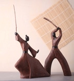 Black & Brown Polyresin Samurai Couple Statue Showpiece