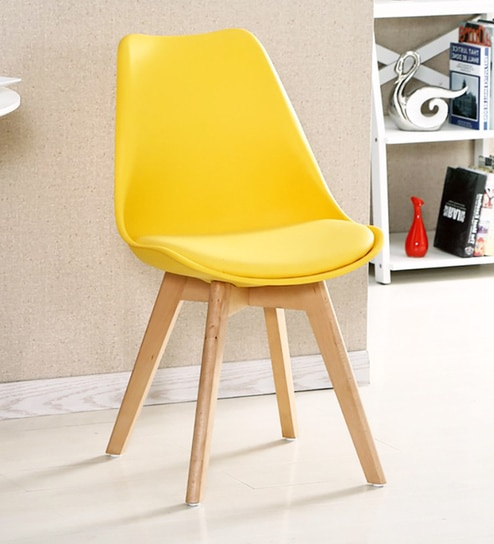 Eames Replica Plastic Padded Chair in Yellow Colour by Finch Fox