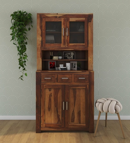 Buy Earl Solid Wood Hutch Cabinet In Rustic Teak Finish By