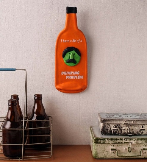 fc519421926 Buy Earth Multicolour Polyresin Drinking Problem Bottle Quote Wall ...