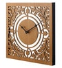 Multicolour Wood 12 x 0.5 x 12 Inch Square Intricate Cutout Wall Clock by Earth