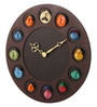 Multicolour Wood 14 x 0.5 x 14 Inch Round Mask Wall Clock by Earth