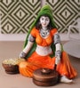 Multicolour Polyresin Traditional Lady with Flour Mill Statue Figurine by Earth