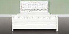 Eco Queen Size Bed with Hydraulic Storage in White Finish