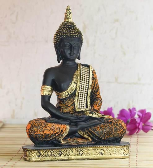Ecraftindia Purple Meditating Buddha Decorative Showpiece
