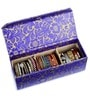 Leatherette Blue & Golden 3 Compartments Handcrafted Bangle Box by Ecoleatherette