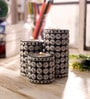 Black & Silver Wooden Cylindrical Tea Light Stand - Set of 3 by eCraftIndia