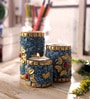 Blue & Gold Wooden Tea Light Holder - Set of 3 by eCraftIndia